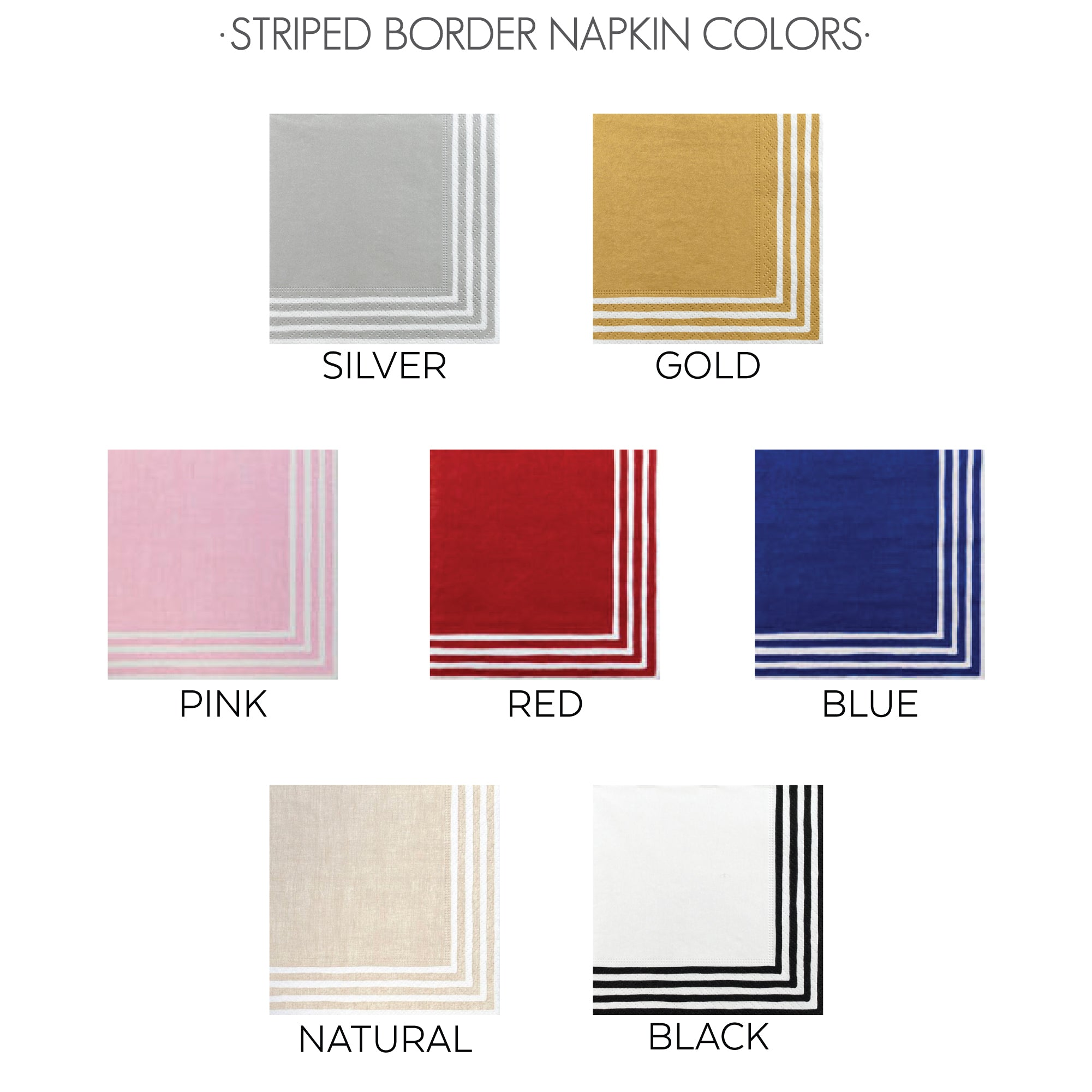 Striped Border Napkin Colors