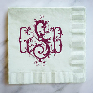 Personalized Formal Script Napkins - set of 100