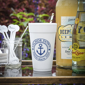 Custom Nautical Theme Styrofoam Cups