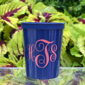 Monogrammed Stadium Party Cups