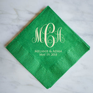Monogram Script Wedding Napkins - 100