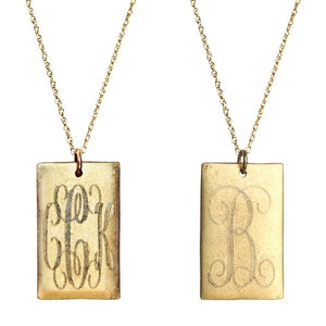 Antiqued Large Gold Rectangle Initial Necklace