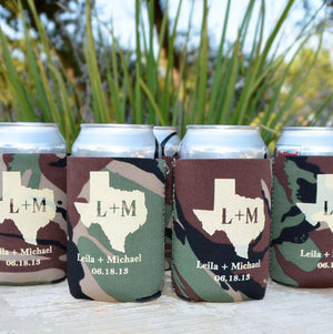 Custom Camo Can and Bottle Coolers