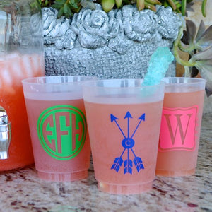 Wreath Monogram Frosted Wedding Cups