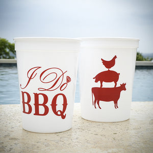 "Custom ""I Do BBQ"" Stadium Cups"