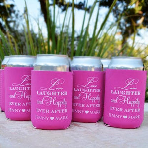 "Custom ""Love Laughter & Happily Ever After"" Coolies"