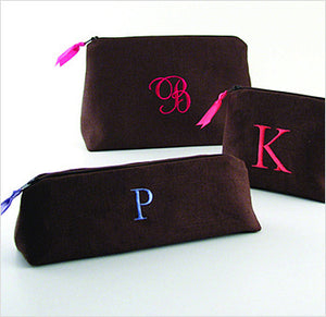 Monogrammed Linen Cosmetic Bags
