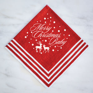 Merry Christmas Baby Striped Napkins  - 50