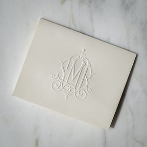 100 Piece Embossed Monogram Notes Set