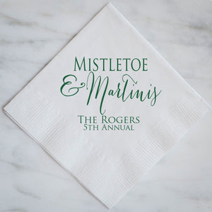 Personalized Mistletoe & Martini Napkins - Set of 100