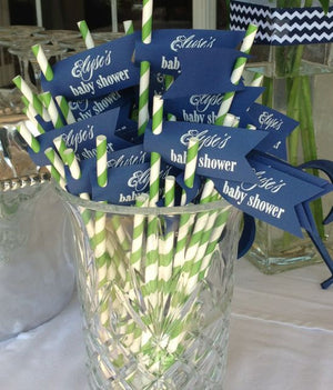 Striped Paper Straws with Personalized Tags