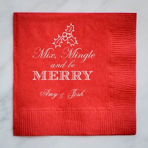 Personalized Mix Mingle & Be Merry Napkins - 100