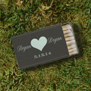 Custom Heart Wedding Matchboxes