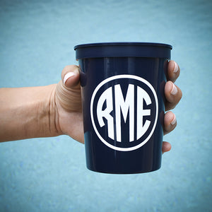 Custom Monogram Plastic Cups