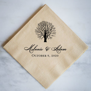 Personalized Fall Wedding Napkins - set of 100