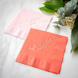 Personalized Names and Heart Napkins
