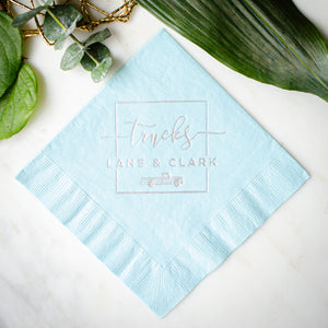 Modern Square Monogram Wedding Napkins