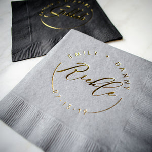 Bride & Groom Cocktail Napkin