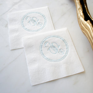 Striped Bold Monogram Cocktail Napkins
