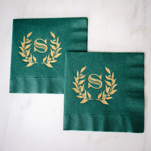 Forest Green Wreath Monogram Wedding Napkins