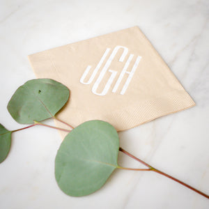 Modern Wedding Monogram 3 Ply Cocktail Napkins