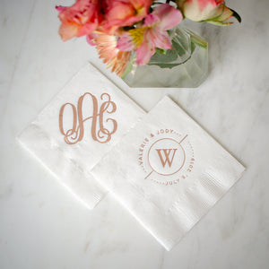 Foil Monogram 3 Ply Cocktail Wedding Napkins