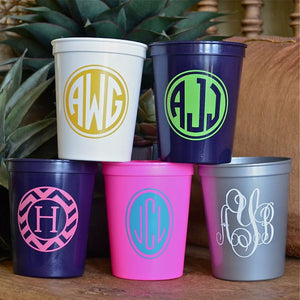 Monogrammed Plastic Stadium Party Cups
