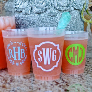 Colorful Monogram Personalized Frosted Cups