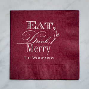 Eat Drink and Be Merry Napkins - Set of 100
