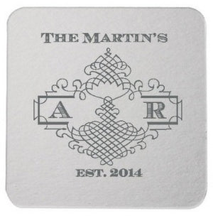 Custom Ornate Border Party Coasters - 50