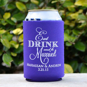 Eat Drink & Be Married Wedding Favor Can Coolers