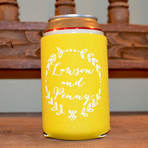 Personalized Can & Bottle Coolers with Wreath Border