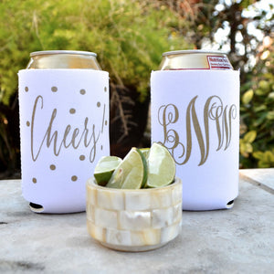 Script Monogram Can Coolers