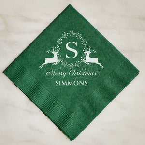 Personalized Festive Holiday Napkins - 100