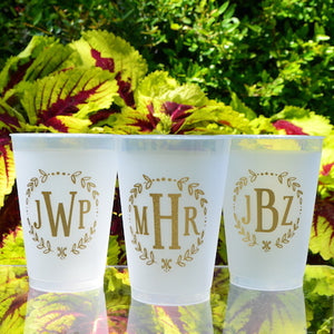 Custom Wreath Monogram Frost Flex Cups