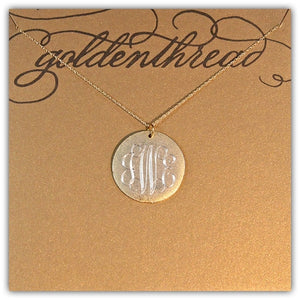 Golden Thread Large Gold Initial Necklace