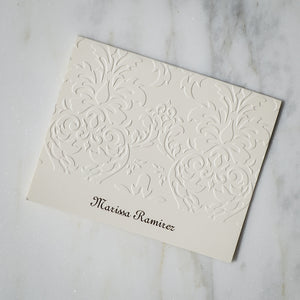Personalized Embossed Damask Print Notes