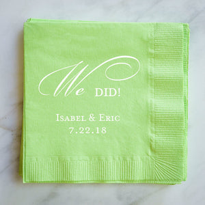 "Personalized ""We Did"" Wedding Napkins - 100"