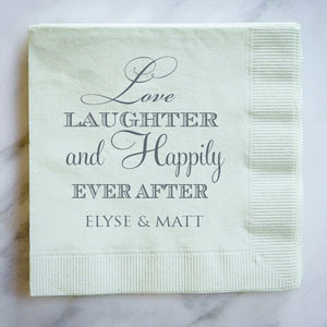 Custom Love Laughter Wedding Napkins - 100