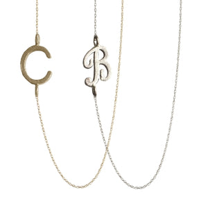 Golden Thread Initial Necklace