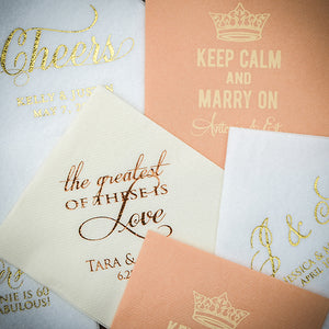 Personalized Printed Wedding Napkins - 100