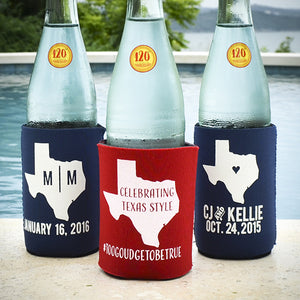 City and State Wedding Can Cooler