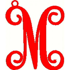 Metal Initial Script Monogram Ornament - 8""