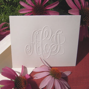 Embossed Note Cards with Large Monogram