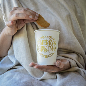Merry Christmas Printed Paper Cups - set of 50