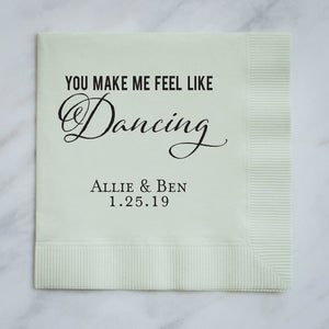 "Personalized ""Feel Like Dancing"" Wedding Napkins"