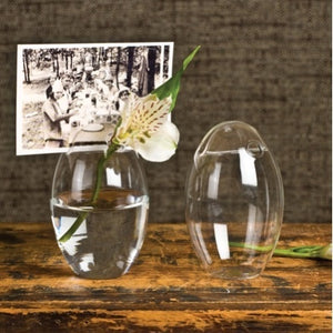 Glass Oval Placecard Holder Vase
