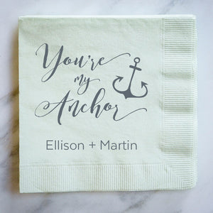 Personalized Nautical Anchor Napkins - 100