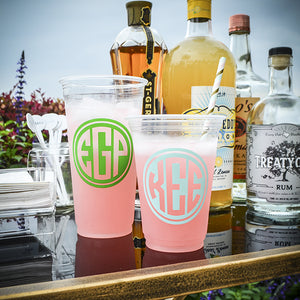 Monogram Soft Plastic Party Cups