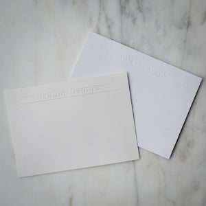 Embossed Name Note Card - 100 Piece Set